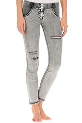 Freddy Wr.Up Skinny In Distressed Light Grey Denim With Embroidery S8-EWRS-WRUP1RA04E