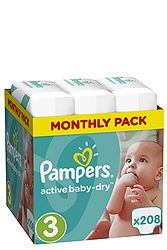 Pampers Monthly Pack 208 τεμ No 3 (5-9 kg) 8001090172518