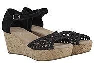 Toms Black Satin Wedge 10004905