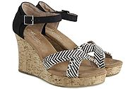 Toms Black Woven Cork Strapy Wedge 10007809