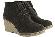Toms Desert Wedge Tarmac Olive Suede 10008907