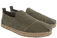 Toms Olive Washed Canvas Rope Sole 10010221